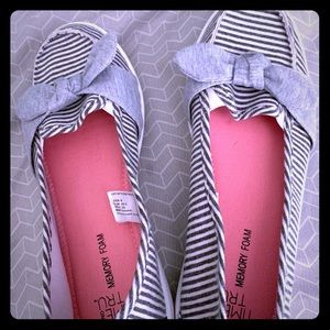 Women's Grey Striped Slip on Shoes Nautical Flats